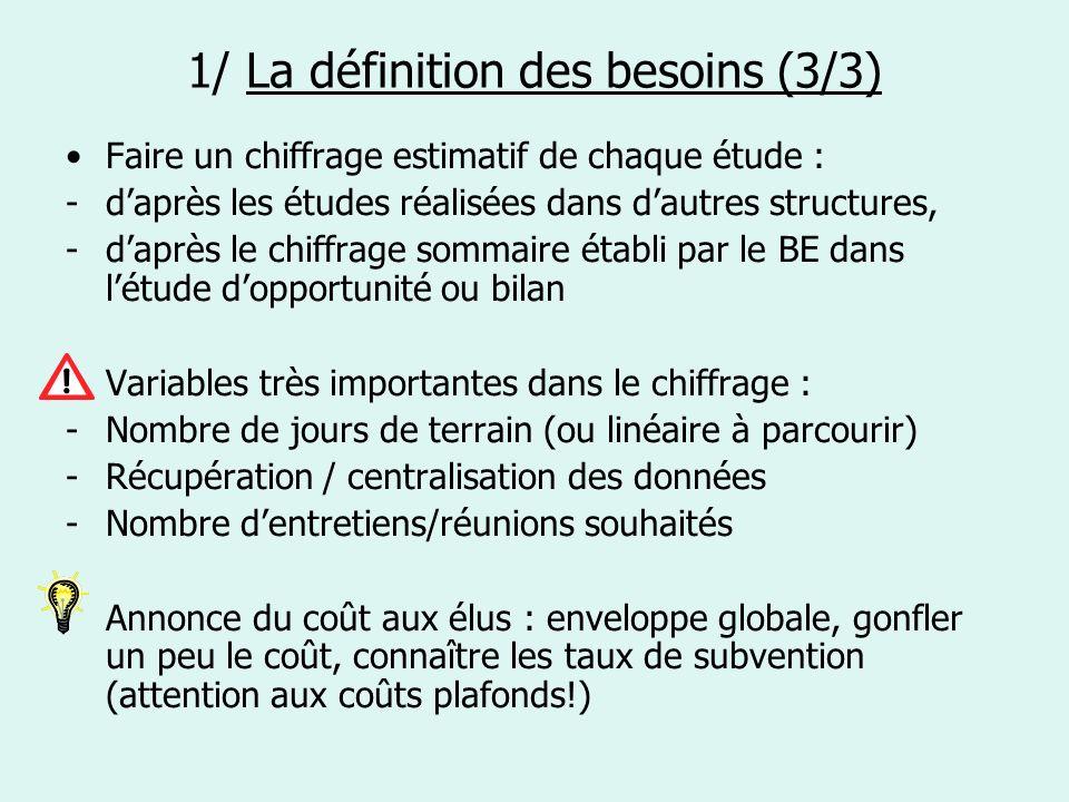 4/ Lanalyse des offres / le choix des bureaux détude (1/3) 1ère étape : La sélection des candidatures En fonction des critères établis dans le DCE.