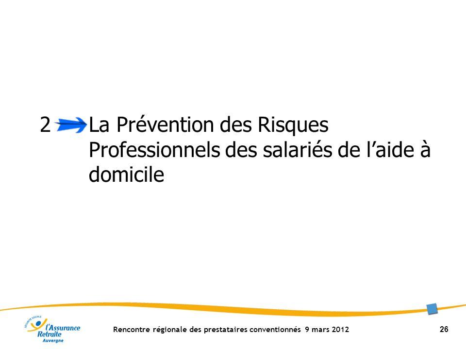 Rencontre régionale des prestataires conventionnés 9 mars 2012 26 2 La Prévention des Risques Professionnels des salariés de laide à domicile