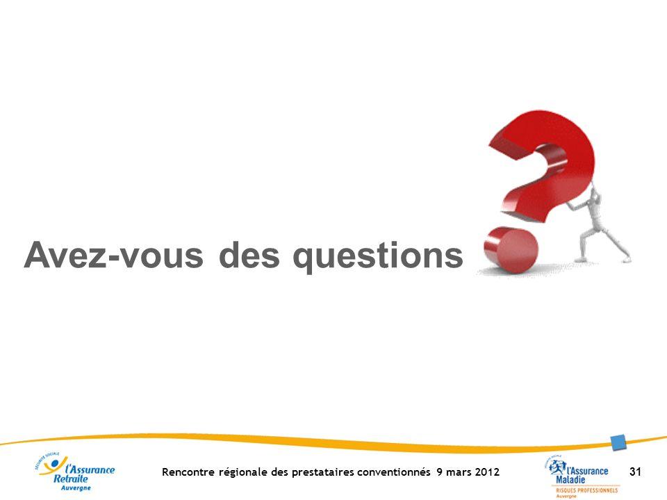 Rencontre régionale des prestataires conventionnés 9 mars 2012 31 Avez-vous des questions