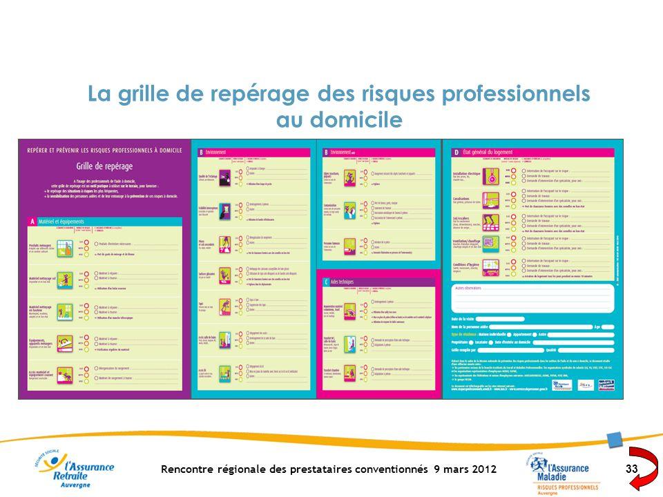 Rencontre régionale des prestataires conventionnés 9 mars 2012 33 La grille de repérage des risques professionnels au domicile