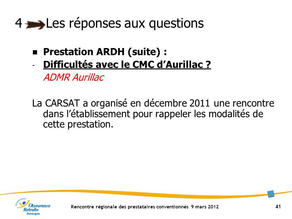 Rencontre régionale des prestataires conventionnés 9 mars 2012 41 4Les réponses aux questions Prestation ARDH (suite) : - Difficultés avec le CMC dAurillac .