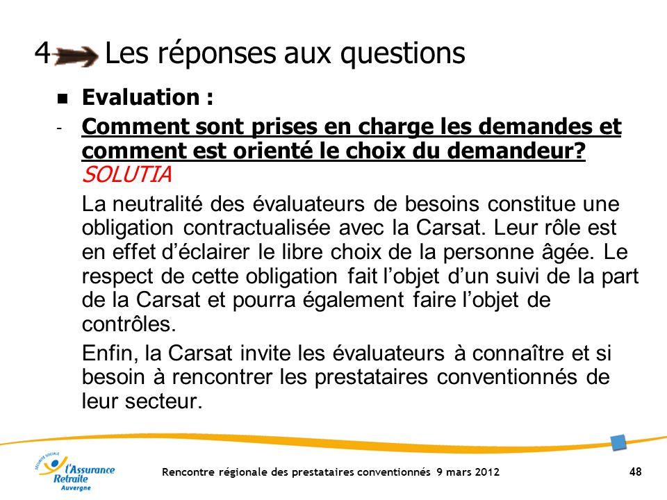 Rencontre régionale des prestataires conventionnés 9 mars 2012 48 4Les réponses aux questions Evaluation : - Comment sont prises en charge les demandes et comment est orienté le choix du demandeur.