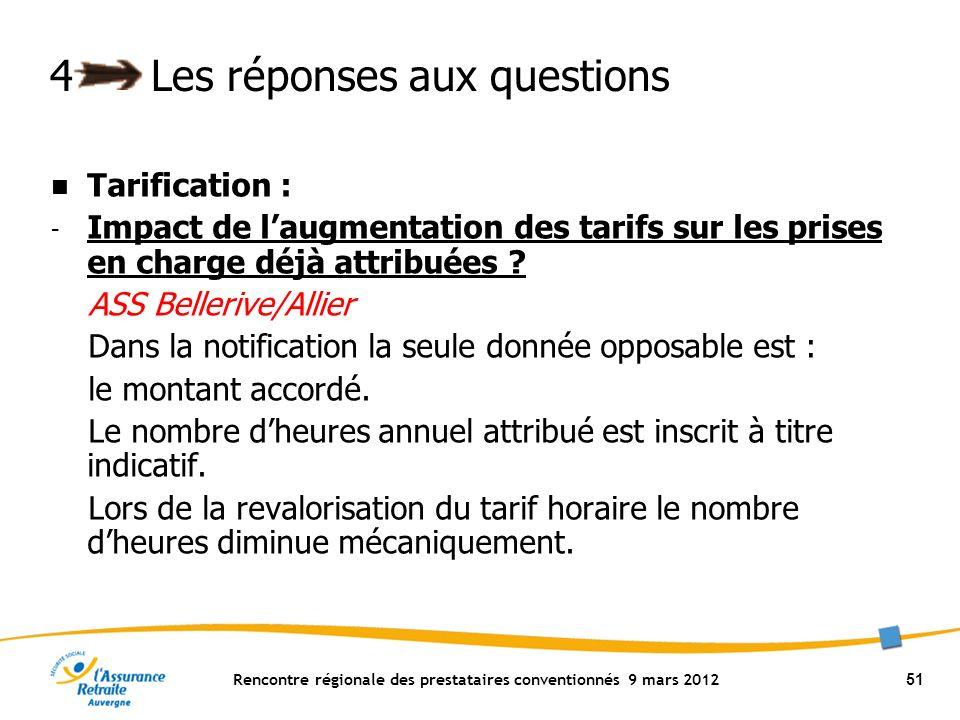 Rencontre régionale des prestataires conventionnés 9 mars 2012 51 4Les réponses aux questions Tarification : - Impact de laugmentation des tarifs sur les prises en charge déjà attribuées .