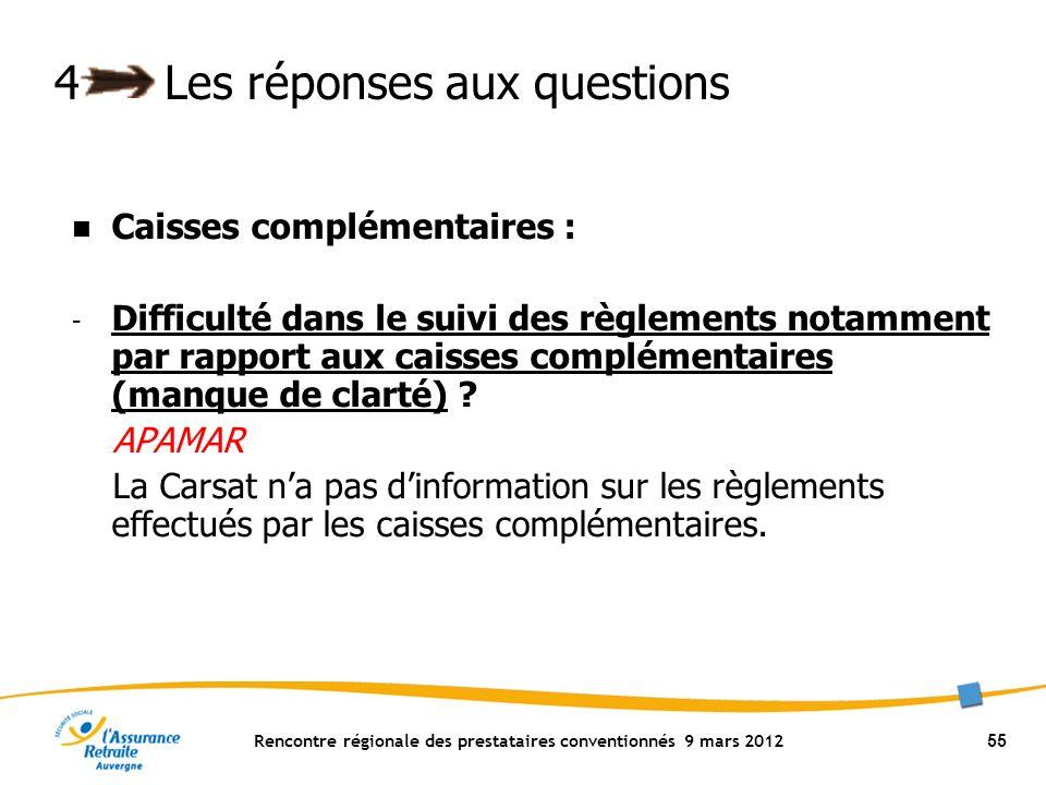 Rencontre régionale des prestataires conventionnés 9 mars 2012 55 4Les réponses aux questions Caisses complémentaires : - Difficulté dans le suivi des règlements notamment par rapport aux caisses complémentaires (manque de clarté) .