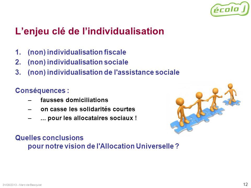 12 31/08/2013 - Marc de Basquiat Lenjeu clé de lindividualisation 1.(non) individualisation fiscale 2.(non) individualisation sociale 3.(non) individu