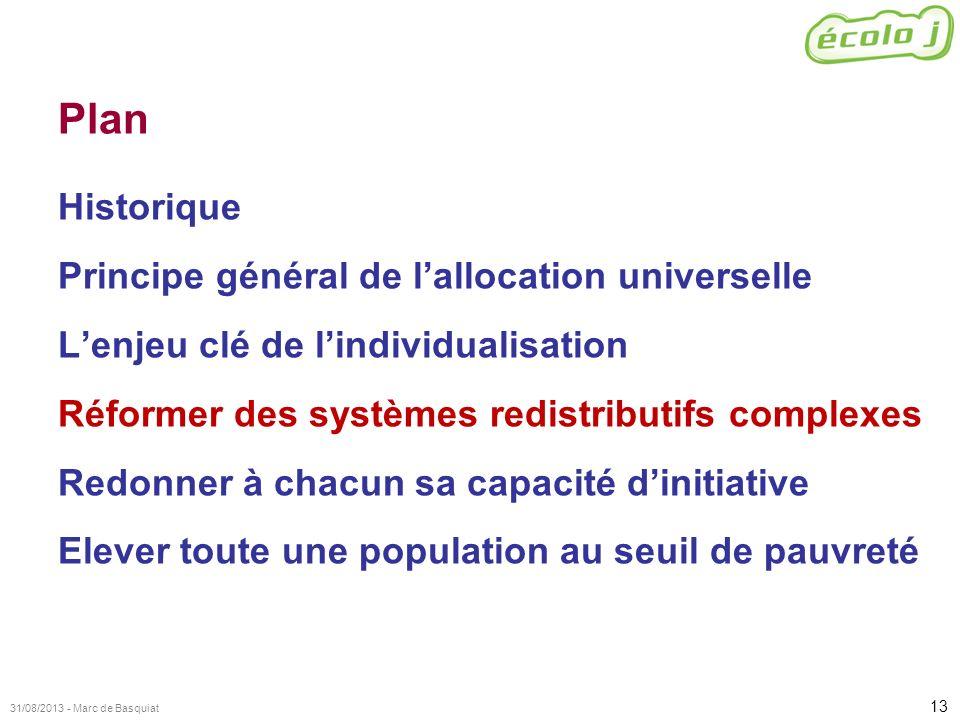 13 31/08/2013 - Marc de Basquiat Plan Historique Principe général de lallocation universelle Lenjeu clé de lindividualisation Réformer des systèmes re