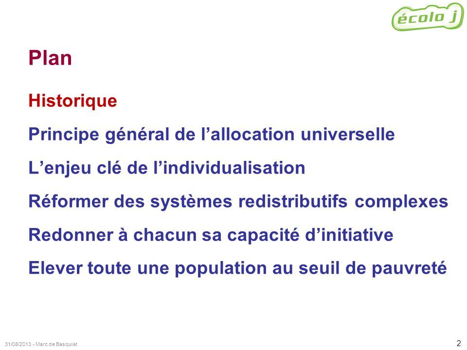 2 31/08/2013 - Marc de Basquiat Plan Historique Principe général de lallocation universelle Lenjeu clé de lindividualisation Réformer des systèmes red