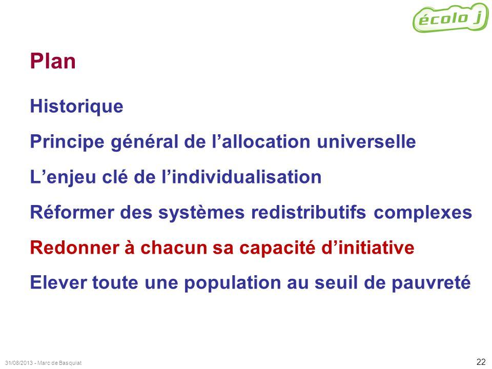 22 31/08/2013 - Marc de Basquiat Plan Historique Principe général de lallocation universelle Lenjeu clé de lindividualisation Réformer des systèmes re