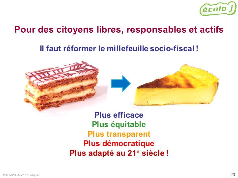 23 31/08/2013 - Marc de Basquiat Pour des citoyens libres, responsables et actifs Il faut réformer le millefeuille socio-fiscal ! Plus efficace Plus é