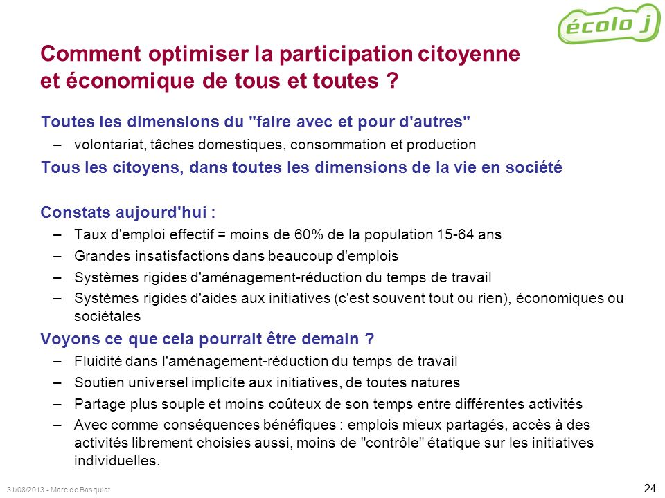 24 31/08/2013 - Marc de Basquiat Comment optimiser la participation citoyenne et économique de tous et toutes ? Toutes les dimensions du
