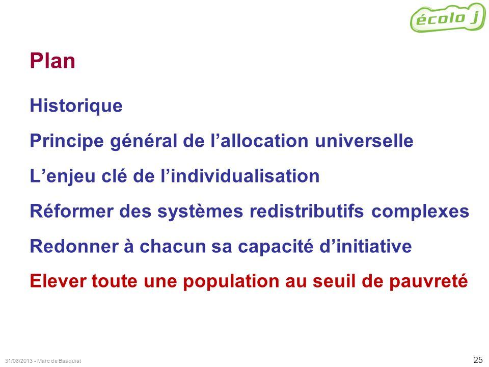 25 31/08/2013 - Marc de Basquiat Plan Historique Principe général de lallocation universelle Lenjeu clé de lindividualisation Réformer des systèmes re