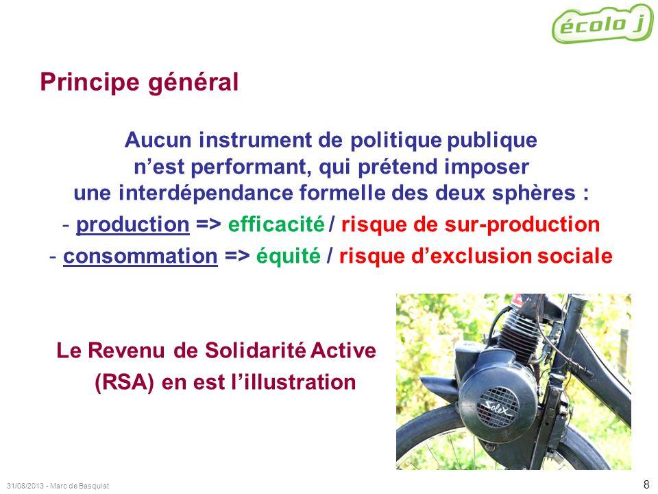 8 31/08/2013 - Marc de Basquiat Principe général Aucun instrument de politique publique nest performant, qui prétend imposer une interdépendance forme