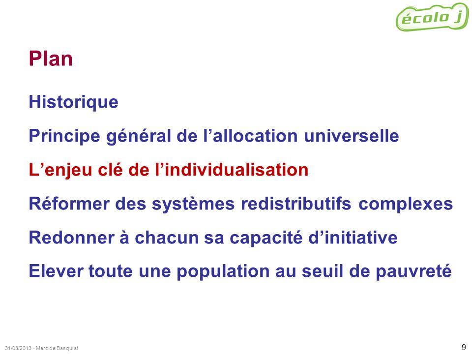 9 31/08/2013 - Marc de Basquiat Plan Historique Principe général de lallocation universelle Lenjeu clé de lindividualisation Réformer des systèmes red