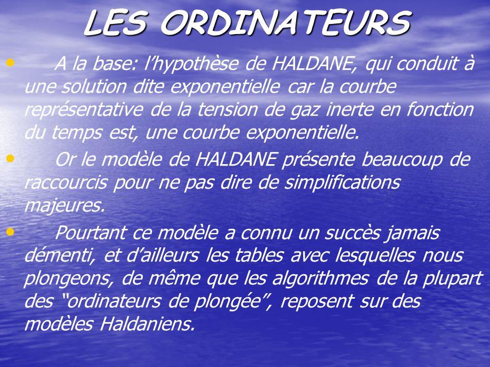 LES ORDINATEURS A la base: lhypothèse de HALDANE, qui conduit à une solution dite exponentielle car la courbe représentative de la tension de gaz iner