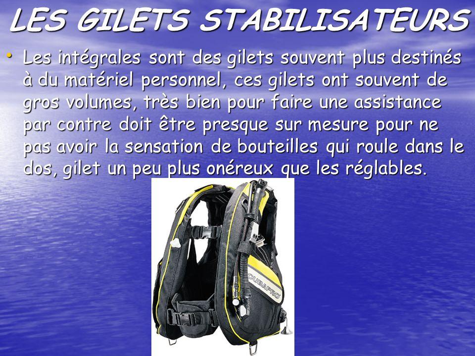 LES GILETS STABILISATEURS Les intégrales sont des gilets souvent plus destinés à du matériel personnel, ces gilets ont souvent de gros volumes, très b