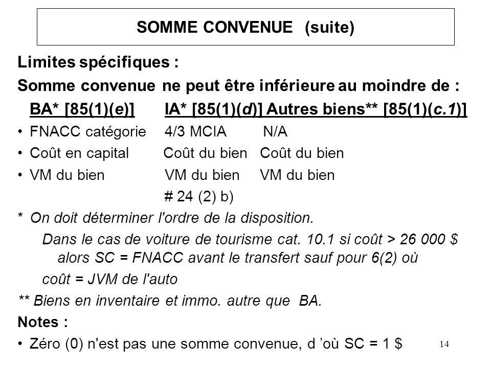14 SOMME CONVENUE (suite) Limites spécifiques : Somme convenue ne peut être inférieure au moindre de : BA* [85(1)(e)]IA* [85(1)(d)] Autres biens** [85