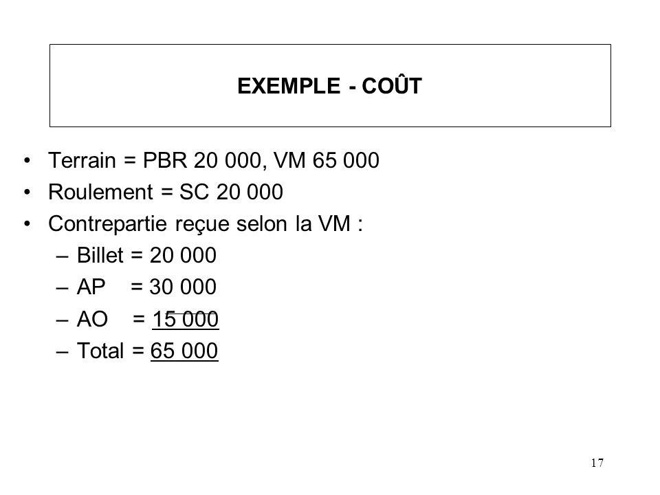 17 EXEMPLE - COÛT Terrain = PBR 20 000, VM 65 000 Roulement = SC 20 000 Contrepartie reçue selon la VM : –Billet = 20 000 –AP = 30 000 –AO = 15 000 –T