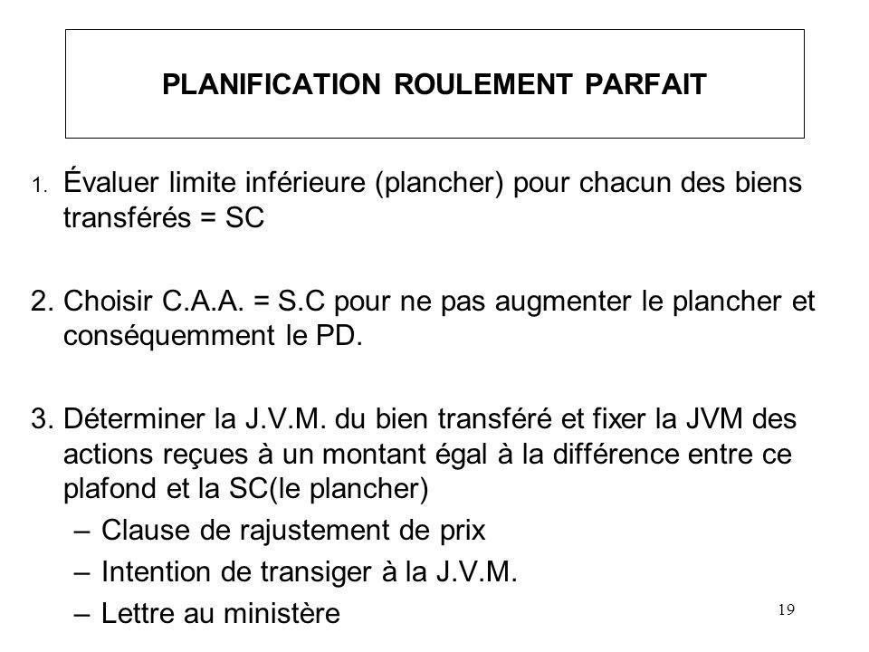 19 PLANIFICATION ROULEMENT PARFAIT 1. Évaluer limite inférieure (plancher) pour chacun des biens transférés = SC 2.Choisir C.A.A. = S.C pour ne pas au