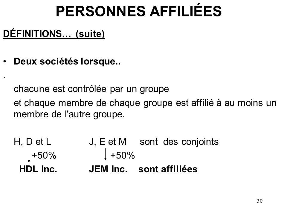 30 PERSONNES AFFILIÉES DÉFINITIONS… (suite) Deux sociétés lorsque... chacune est contrôlée par un groupe et chaque membre de chaque groupe est affilié