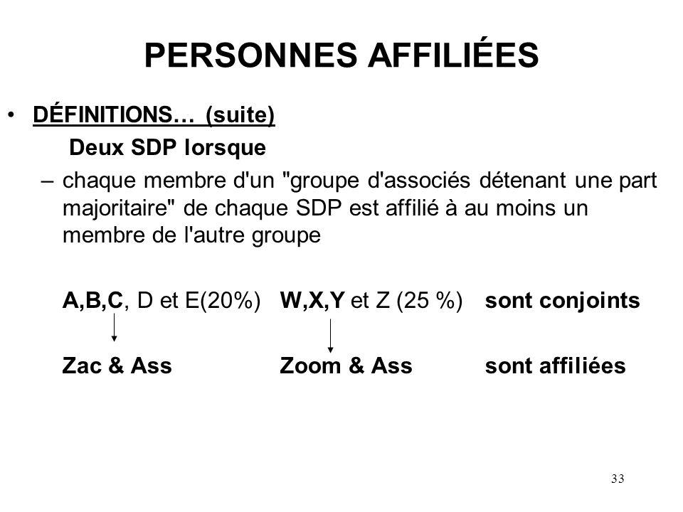 33 PERSONNES AFFILIÉES DÉFINITIONS… (suite) Deux SDP lorsque –chaque membre d'un
