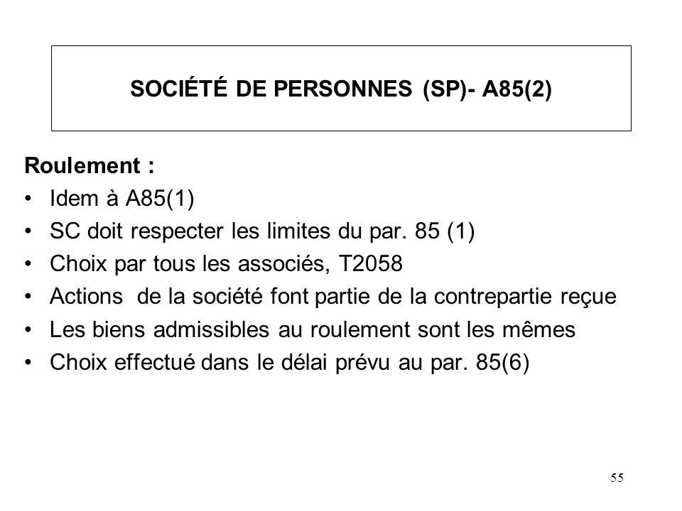 55 SOCIÉTÉ DE PERSONNES (SP)- A85(2) Roulement : Idem à A85(1) SC doit respecter les limites du par. 85 (1) Choix par tous les associés, T2058 Actions