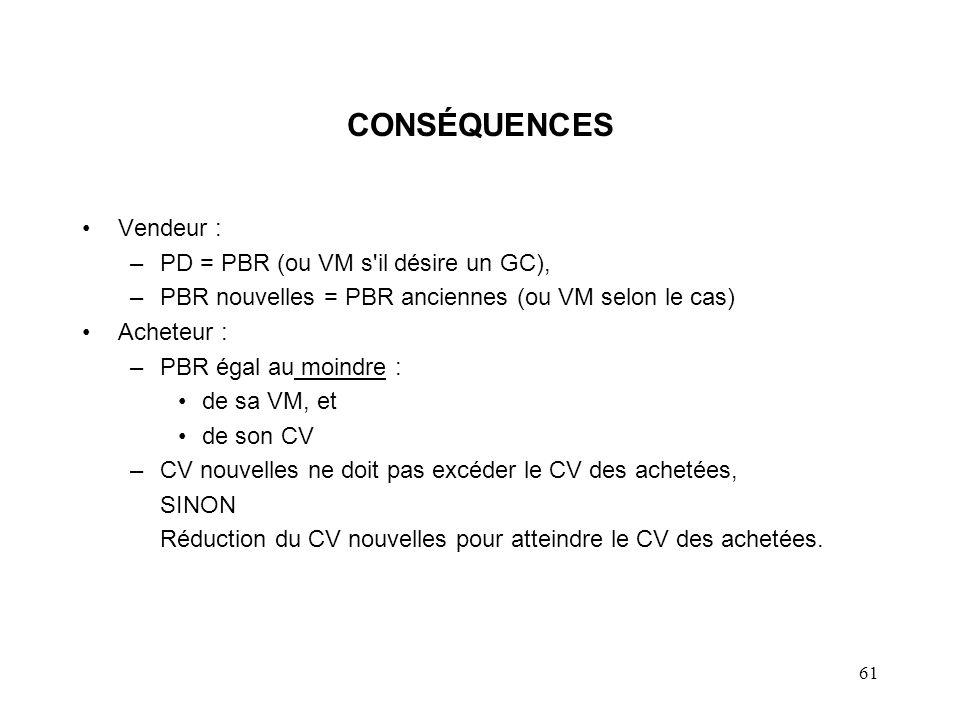 61 CONSÉQUENCES Vendeur : –PD = PBR (ou VM s'il désire un GC), –PBR nouvelles = PBR anciennes (ou VM selon le cas) Acheteur : –PBR égal au moindre : d