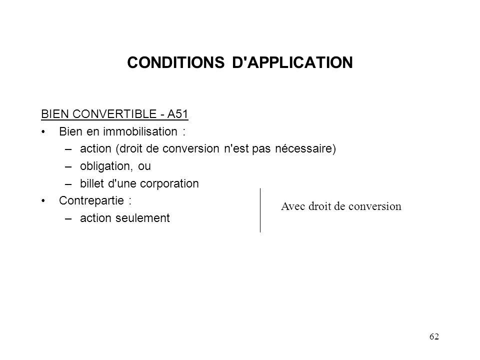 62 CONDITIONS D'APPLICATION BIEN CONVERTIBLE - A51 Bien en immobilisation : –action (droit de conversion n'est pas nécessaire) –obligation, ou –billet