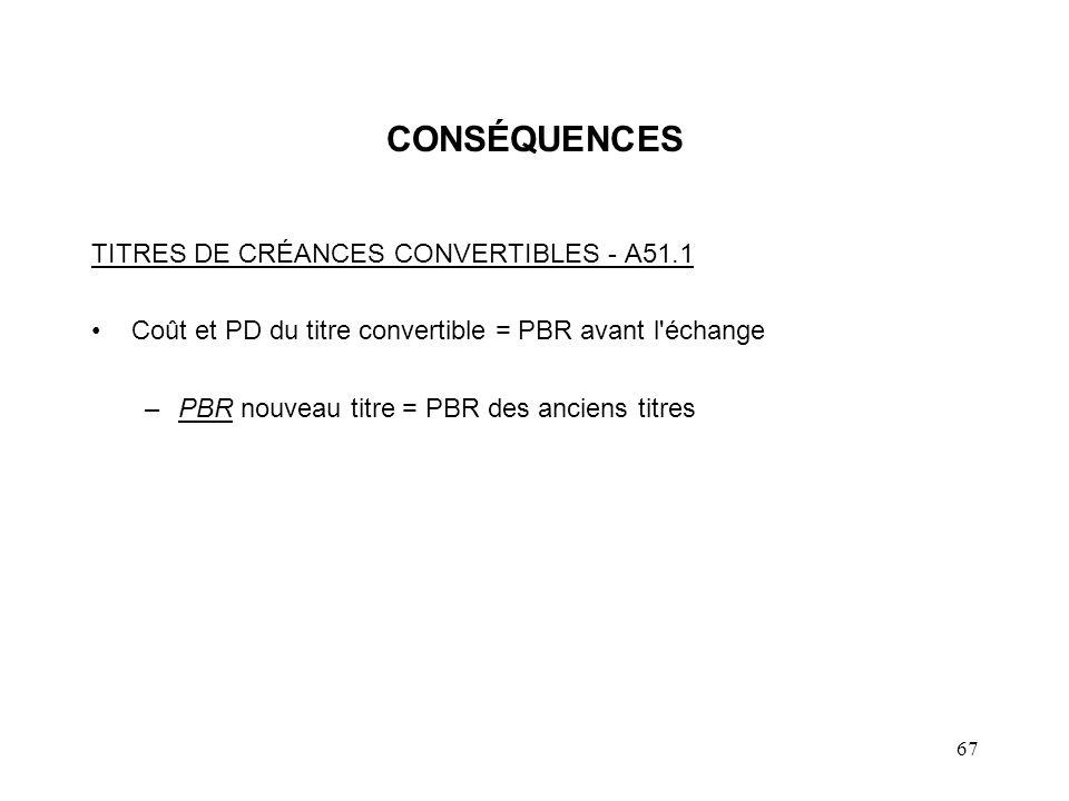 67 CONSÉQUENCES TITRES DE CRÉANCES CONVERTIBLES - A51.1 Coût et PD du titre convertible = PBR avant l'échange –PBR nouveau titre = PBR des anciens tit
