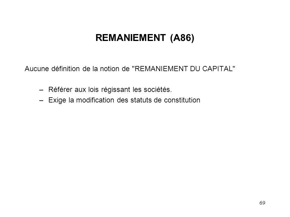 69 REMANIEMENT (A86) Aucune définition de la notion de