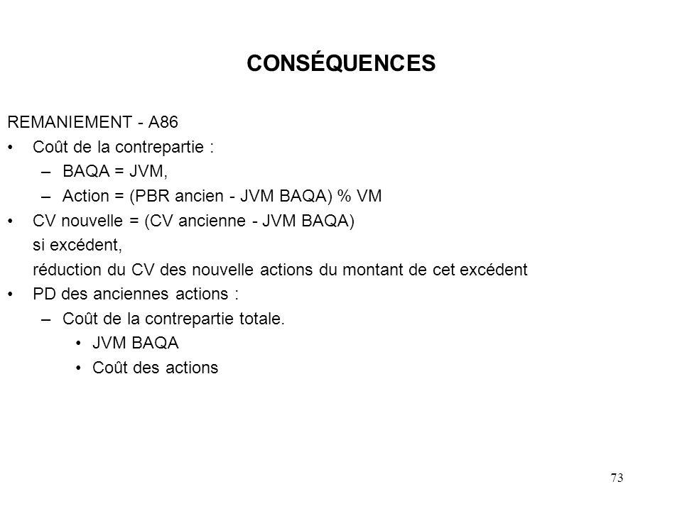 73 CONSÉQUENCES REMANIEMENT - A86 Coût de la contrepartie : –BAQA = JVM, –Action = (PBR ancien - JVM BAQA) % VM CV nouvelle = (CV ancienne - JVM BAQA)