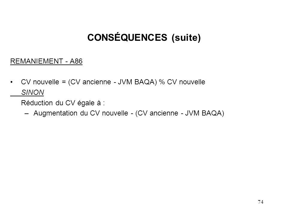 74 CONSÉQUENCES (suite) REMANIEMENT - A86 CV nouvelle = (CV ancienne - JVM BAQA) % CV nouvelle SINON Réduction du CV égale à : –Augmentation du CV nou