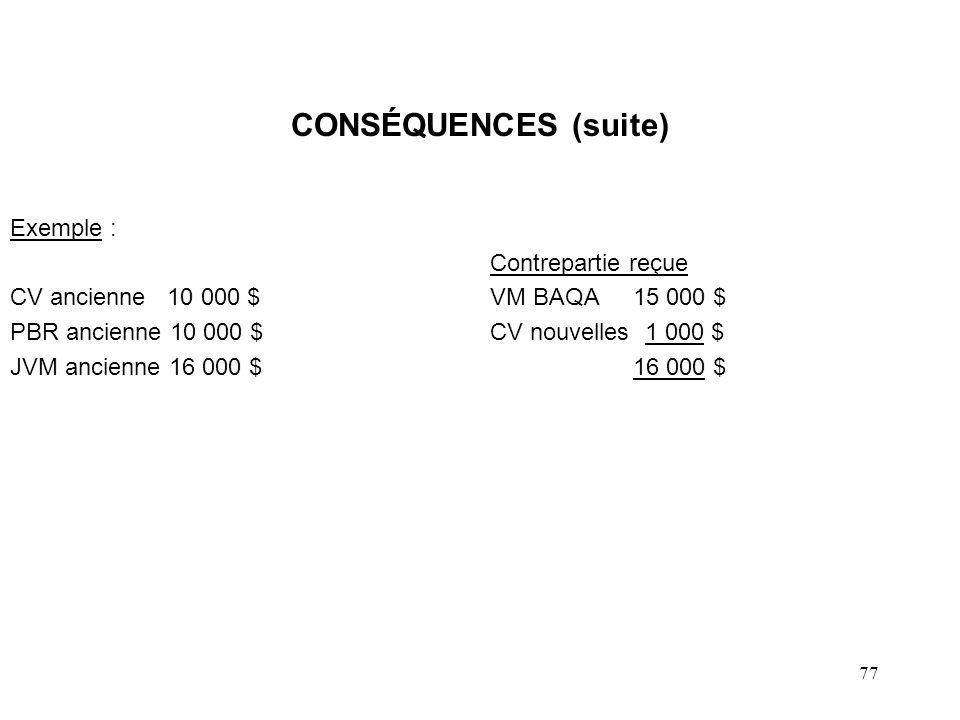 77 CONSÉQUENCES (suite) Exemple : Contrepartie reçue CV ancienne 10 000 $VM BAQA 15 000 $ PBR ancienne 10 000 $CV nouvelles 1 000 $ JVM ancienne 16 00