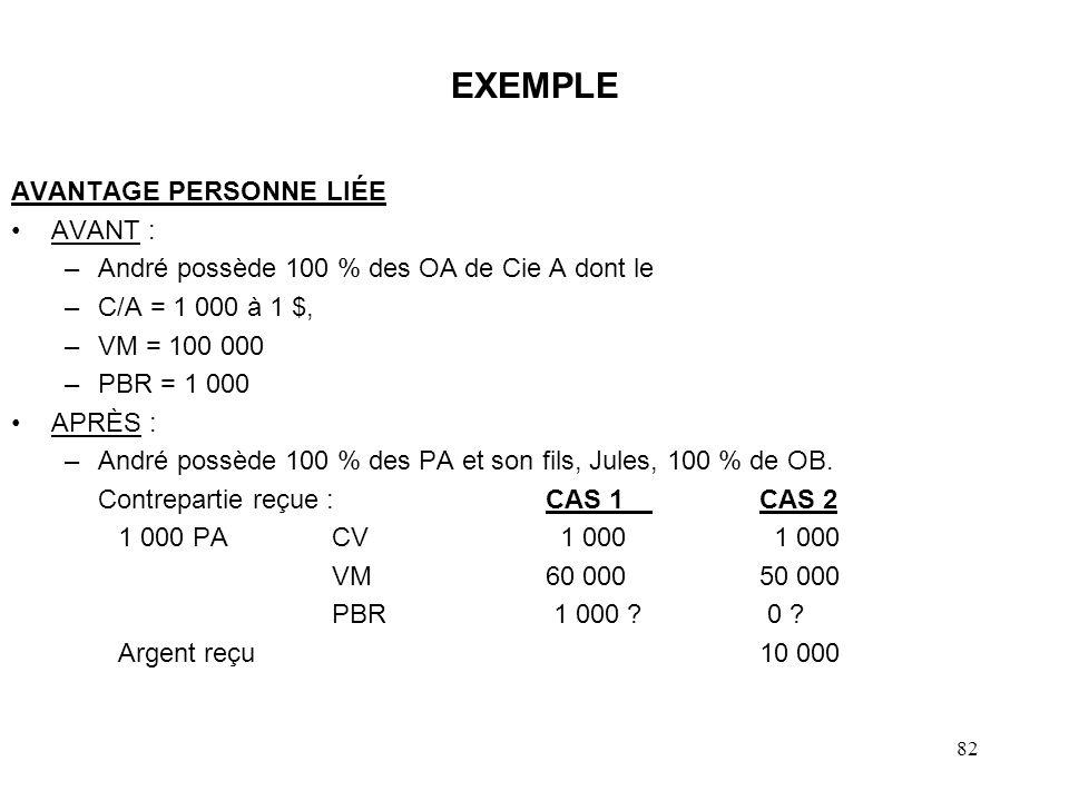 82 EXEMPLE AVANTAGE PERSONNE LIÉE AVANT : –André possède 100 % des OA de Cie A dont le –C/A = 1 000 à 1 $, –VM = 100 000 –PBR = 1 000 APRÈS : –André p