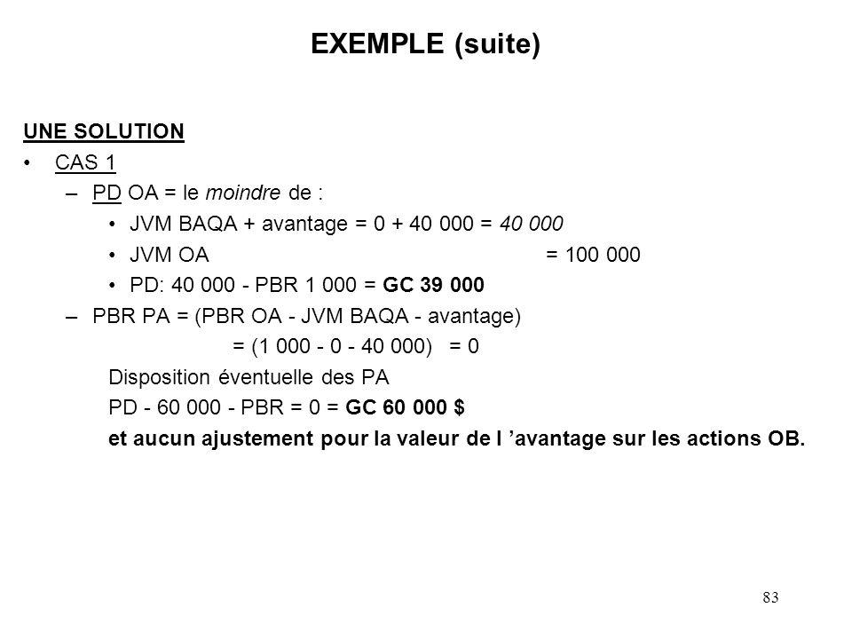 83 EXEMPLE (suite) UNE SOLUTION CAS 1 –PD OA = le moindre de : JVM BAQA + avantage = 0 + 40 000 = 40 000 JVM OA = 100 000 PD: 40 000 - PBR 1 000 = GC