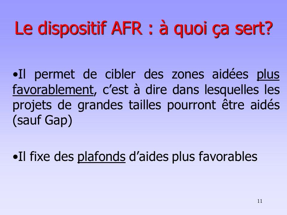11 Le dispositif AFR : à quoi ça sert? Il permet de cibler des zones aidées plus favorablement, cest à dire dans lesquelles les projets de grandes tai