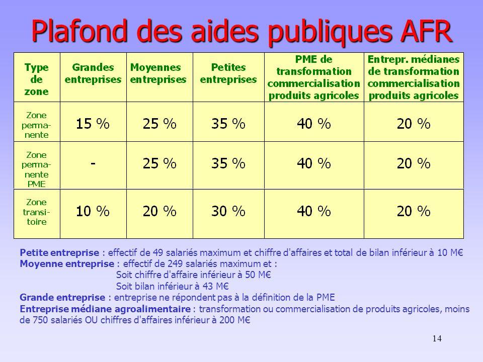 14 Plafond des aides publiques AFR Petite entreprise : effectif de 49 salariés maximum et chiffre d'affaires et total de bilan inférieur à 10 M Moyenn