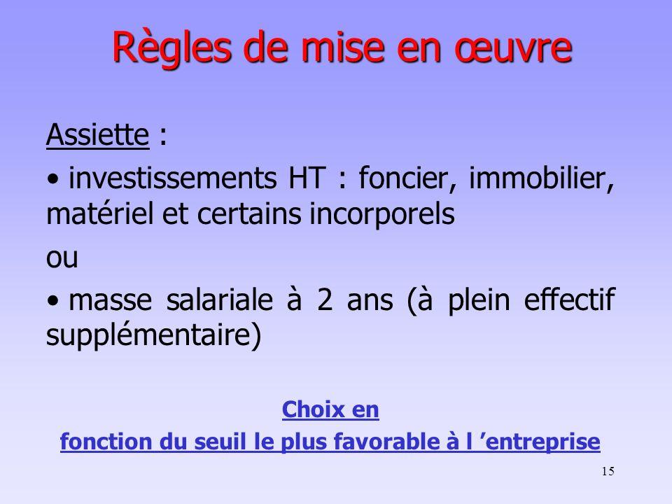 15 Règles de mise en œuvre Assiette : investissements HT : foncier, immobilier, matériel et certains incorporels ou masse salariale à 2 ans (à plein e