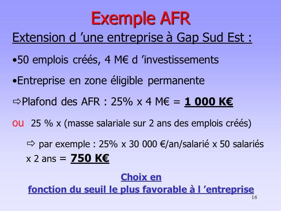 16 Exemple AFR Extension d une entreprise à Gap Sud Est : 50 emplois créés, 4 M d investissements Entreprise en zone éligible permanente Plafond des A