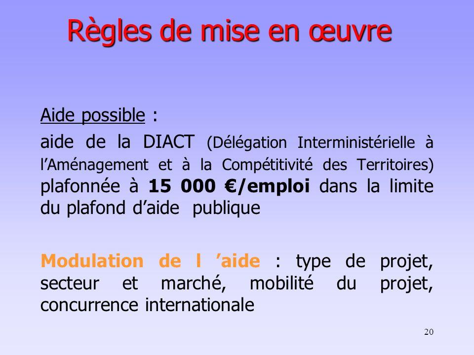 20 Règles de mise en œuvre Aide possible : aide de la DIACT (Délégation Interministérielle à lAménagement et à la Compétitivité des Territoires) plafo
