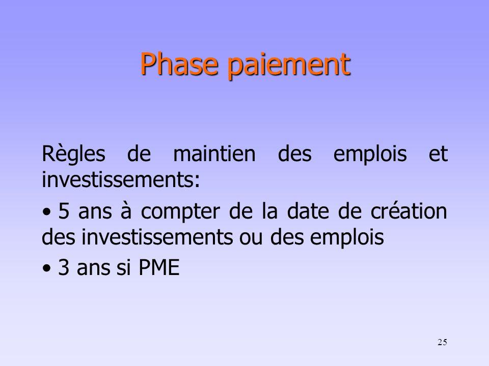 25 Phase paiement Règles de maintien des emplois et investissements: 5 ans à compter de la date de création des investissements ou des emplois 3 ans s