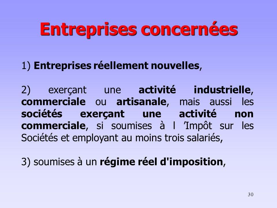 30 1) Entreprises réellement nouvelles, 2) exerçant une activité industrielle, commerciale ou artisanale, mais aussi les sociétés exerçant une activit