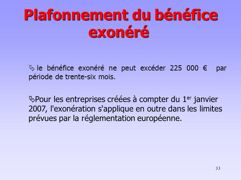 33 le bénéfice exonéré ne peut excéder 225 000 par période de trente-six mois. Pour les entreprises créées à compter du 1 er janvier 2007, l'exonérati