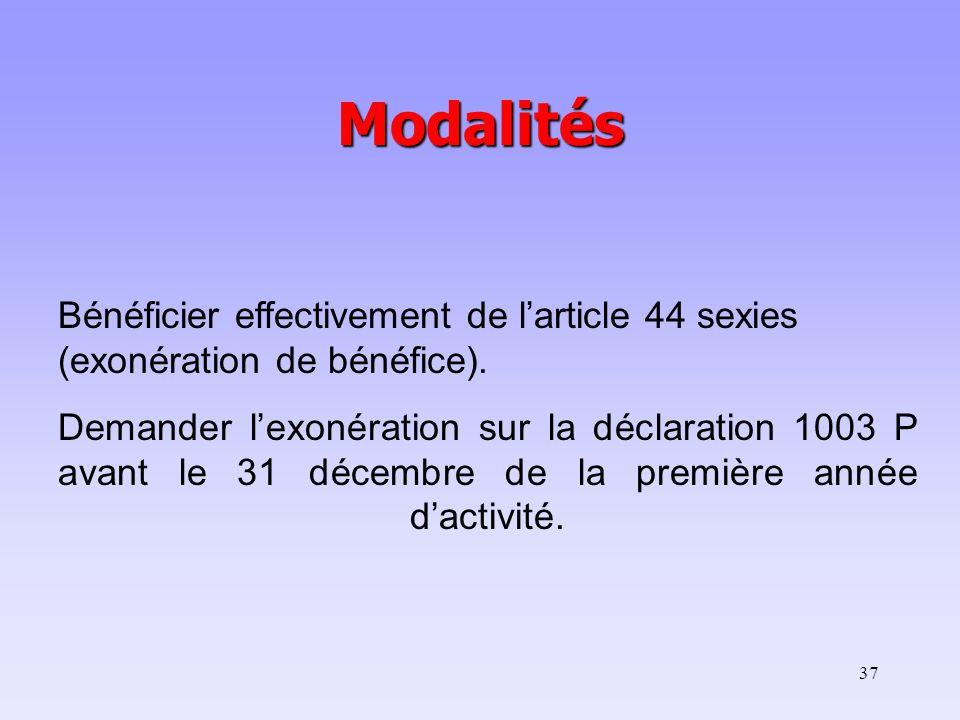 37 Modalités Bénéficier effectivement de larticle 44 sexies (exonération de bénéfice). Demander lexonération sur la déclaration 1003 P avant le 31 déc
