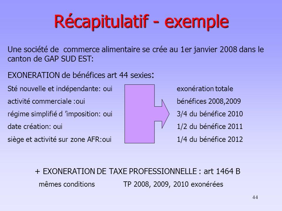 44 Récapitulatif - exemple Une société de commerce alimentaire se crée au 1er janvier 2008 dans le canton de GAP SUD EST: EXONERATION de bénéfices art