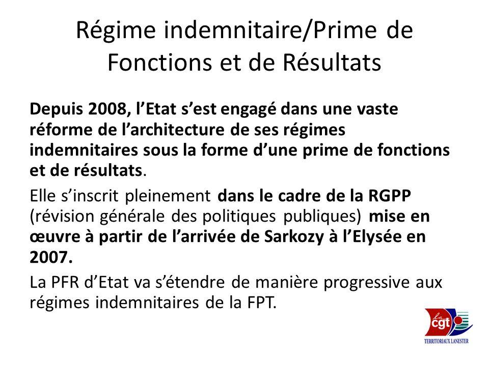 Régime indemnitaire/Prime de Fonctions et de Résultats Depuis 2008, lEtat sest engagé dans une vaste réforme de larchitecture de ses régimes indemnita