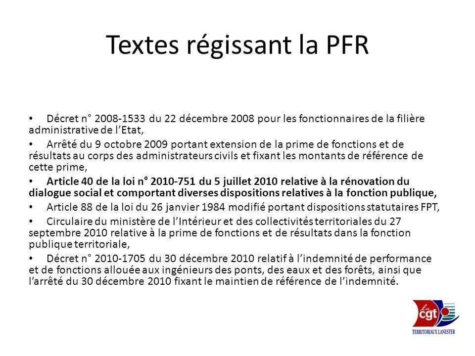 Textes régissant la PFR Décret n° 2008-1533 du 22 décembre 2008 pour les fonctionnaires de la filière administrative de lEtat, Arrêté du 9 octobre 200