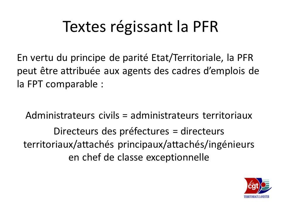 Textes régissant la PFR En vertu du principe de parité Etat/Territoriale, la PFR peut être attribuée aux agents des cadres demplois de la FPT comparab