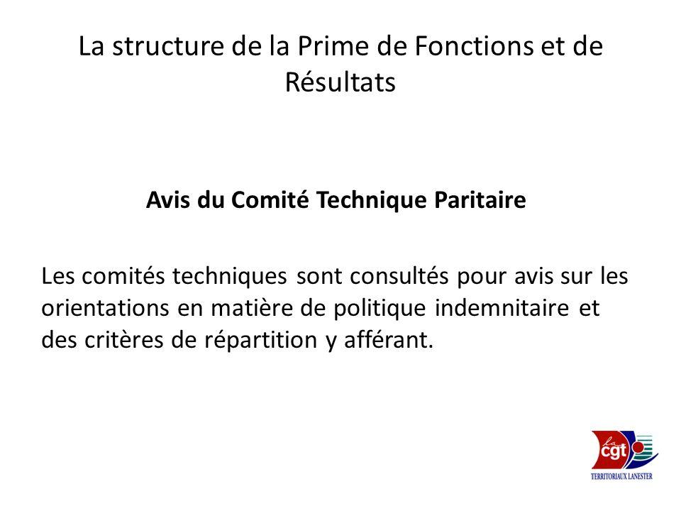 La structure de la Prime de Fonctions et de Résultats Avis du Comité Technique Paritaire Les comités techniques sont consultés pour avis sur les orien