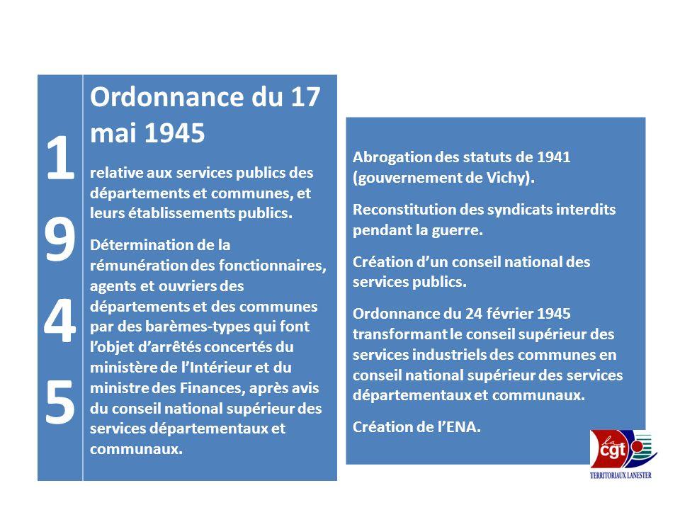 19451945 Ordonnance du 17 mai 1945 relative aux services publics des départements et communes, et leurs établissements publics. Détermination de la ré