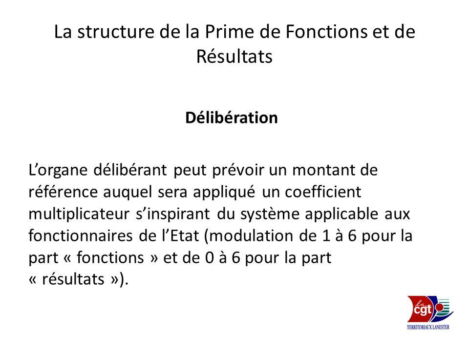La structure de la Prime de Fonctions et de Résultats Délibération Lorgane délibérant peut prévoir un montant de référence auquel sera appliqué un coe